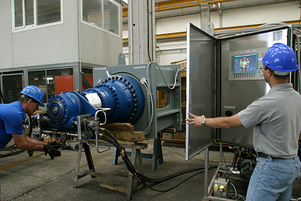 Rotary actuator for an isolation valve, during final test