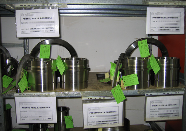 Valve internal parts ready for shipping, after quality check