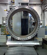 108 inch butterfly valve body, seat machining