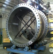 108 inch butterfly valve: body welding