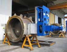 Butterfly valve with actuator, ready for testing