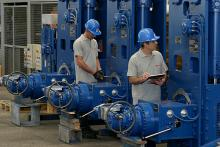 Rotary actuators for butterfly valves, during final checks